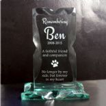 Pet Memorial Glass Plaque, ref JGFM